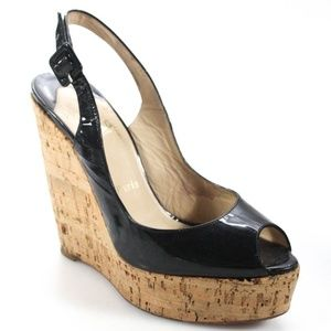 Christian Louboutin Black Patent Wedges - Size 39